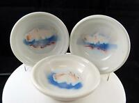 "ART POTTERY 3 PIECE WHEEL THROWN BLUE & WHITE CLOUD DESIGN 5 7/8"" BOWLS"