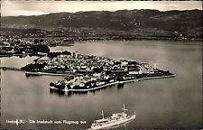 Lindau im Bodensee alte s/w Ansichtskarte 1955 Gesamtansicht Luftaufnahme Schiff