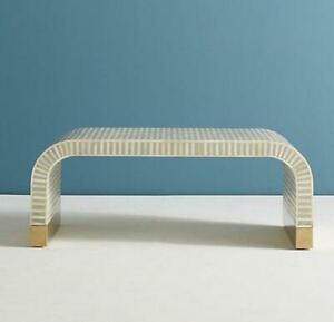 Bone Inlay Console Table Modern Waterfall Handmade Furniture With insurance D