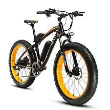 Yellow Black 500W 48V Mens Mountain Bike Fat Tire Electric Bike 7 Speeds eBike
