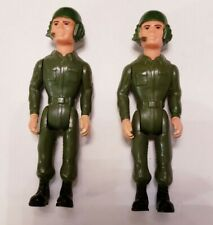 2 Fisher Price Construx Action Figure Army Tank Pilot 1985 / Beautiful Condition