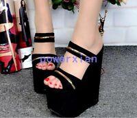 Womens Platform Super High Heel Wedge New Summer Slippers Sandals Dress Shoes