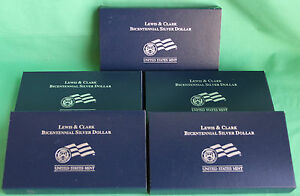 5 - 2004 Lewis and Clark Proof 90% Silver Dollar Five $1 Coin Bulk Lot Complete