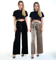 Womens Velvet Evening High-Waisted Belted Trousers Wide-Leg Pleated Ladies Pants