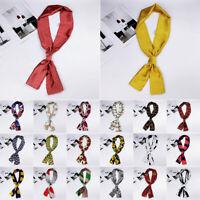 Band Neckerchief Women's Silk Satin Scarf  Neck Tie Long Scarves Retro Printed