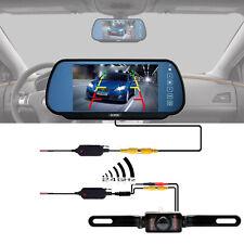 "7"" Tft Lcd Monitor Mirror +2.4G Wireless Car Reverse Rear View Backup Camera Kit"