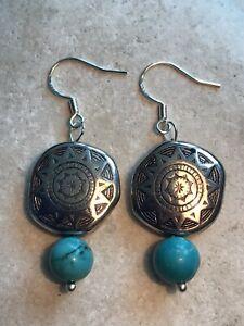 Turquoise Boho Shields Earrings - 925 Sterling Silver - Gift Bag - Free P&P