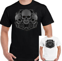 3 Skulls Mens T-Shirt Biker Tattoo Motorbike Motorcycle Gothic Heavy Metal Rock