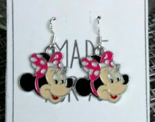 Minnie Mouse Dangle Earrings-925 Wires-Pink Polka Dot Bow-Enamel Charm &Gift Bag
