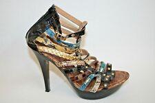 Cherag Fashion Designer Ladies Womans Stripes Faux Leather High Heel Shoes 4 UK