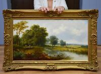 Fine Original Antique 19thC Oil Painting of Anglers in English River Landscape