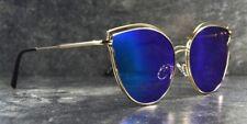 Elegante Katzenauge Damen Cat Eye Sonnenbrille Gold Blau Brille verspiegelt 7130