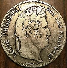1837 W FRANCE LOUIS PHILIPPE I ROI DES FRANÇAIS SILVER 5 FRANCS ARGENT