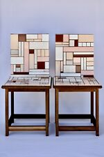 Abstract Modern Tile Chair Sculpture Set One-Of-A-Kind Signed