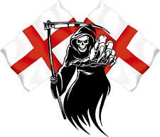Racing Grim Reaper Skull England Flag Car MotorBike Bike Van Sticker LSGREng2s