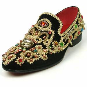 Fiesso Black/Gold Suede Slip on Smoking  Shoes Stones Studded Zari FI 7411