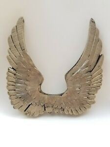 Decorative Pair of Angel Wings -  Wood & Metal Rustic Wall Decor Gold 12""