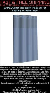 *FREE SHIPPING* New Hookless FLEX-ON RINGS Blue Fabric Shower Curtain PEVA Liner