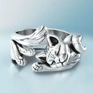 Lucky Cute Cat Shaped 925 Silver Opening Finger Ring Knuckle Women Party Jewelry