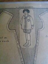"""PATRON ORIGINAL  POUPEE """" BLEUETTE """"COSTUME DE MARIN  N° 14/16 MAI 1917"""