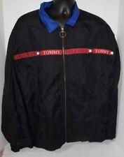 TOMMY JEANS Vintage Spellout Hilfiger Lined Black Windbreaker Jacket XL Zipper