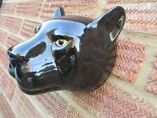 More details for  ceramic black panther   wall vase/planter by quail ceramics boxed ideal gift