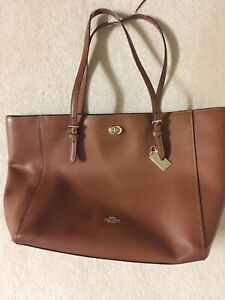 Coach Brown Leather Tote Bag With Gold Hardware