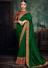 Saree Heavy Party Sari Wear Blouse Designer Indian Wedding Bollywood Pakistani