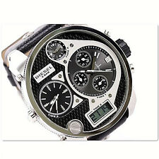 NWT Diesel Mens Oversized Watch MR DADDY Silver Black Leather Chrono DZ7125 $295