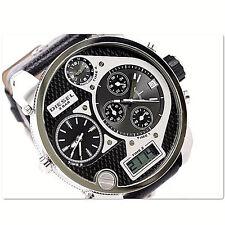 NWT Diesel Mens Oversized Watch MR DADDY Silver Black Leather Chrono DZ7125 $295
