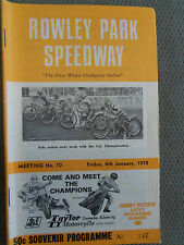 FRIDAY 6TH JANUARY 1978 SPEEDWAY OFFICIAL PROGRAM ROWLEY PARK MEETING NUMBER 10