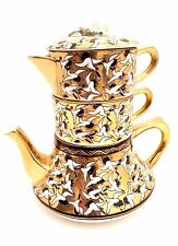 Vintage Stacking Teapot 3 Tier Teapot Sugar Bowl & Creamer Gold Leaf w/ Birds