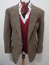 Ralph lauren homme vintage marron laine herringbone sports hacking jacket blazer 42""