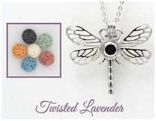 Dragonfly Aromatherapy Essential Oil Necklace Diffuser with 6 lava stones!