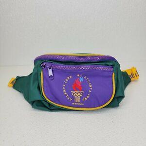 Vintage Atlanta 1996 Olympics Green Purple Fanny Waist Pack Bag Adjustable