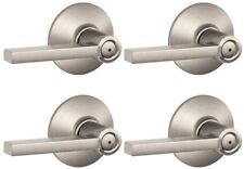 Latitude Satin Nickel Privacy Bed Bath Lever 4-Pk Modern Residential Door Handle