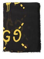 New Gucci Ghost Black Yellow GG Modal Silk Large Scarf Shawl 449009 1075