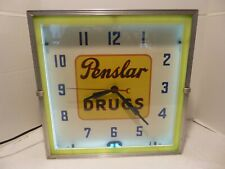 PENSLAR DRUGS NEON ADVERTISING CLOCK