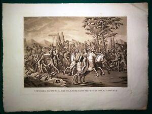 Stampa antica STORIA di MILANO BATTAGLIA DI CASORATE PAVIA 1821 Antique print