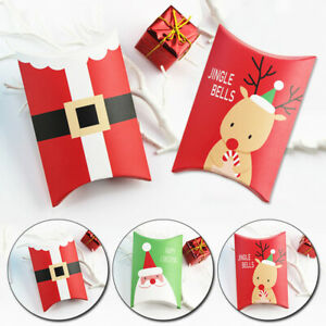 5pcs Christmas Pillow Shape Gift Box Paper Candy Cookie Packaging Box Supplies