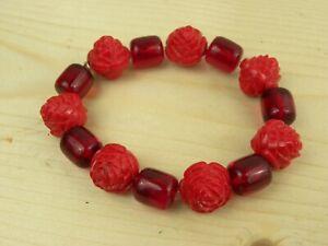 Signed Tarina Tarantino Stretch Bracelet Red Rose Lucite Beads