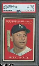 "1961 Topps #475 MVP Mickey Mantle HOF Yankees PSA 8 "" Sharp Corners """