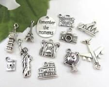 12 LOVE to TRAVEL Theme Charms Tibetan Silver Charm Collection Assorted Set Lot