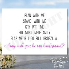 Personalised Will you be my Bridesmaid Maid of honour Invitation Invite Card