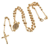 "Rosary Beads Pendant Gold Plated 18K Decorated Crucifixion Holy Land 18""/46 cm"