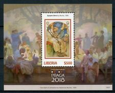 Liberia 2018 MNH Praga 2018 Alphonse Mucha 1v S/S I Art Paintings Stamps
