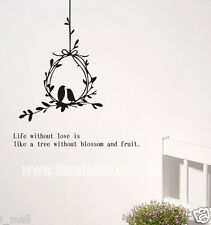 A lovely Wall Art 4 your room,BIRDS ON THE PERCH Removable Wall Decal with Quote