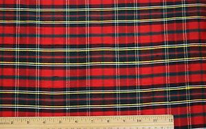 """Red/Green/Black  Dupioni Plaids 100% Silk Fabric 54"""" Wide, By The Yard (SD-656)"""