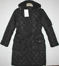 NWT Girls BURBERRY Black Long Quilted Coat Size 12