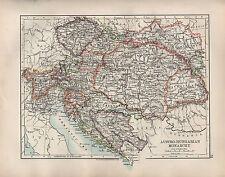 1904 ANTIQUE MAP ~ AUSTRO-HUNGARIAN MONARCHY ~ HUNGARY BOSNIA BOHEMIA TYROL